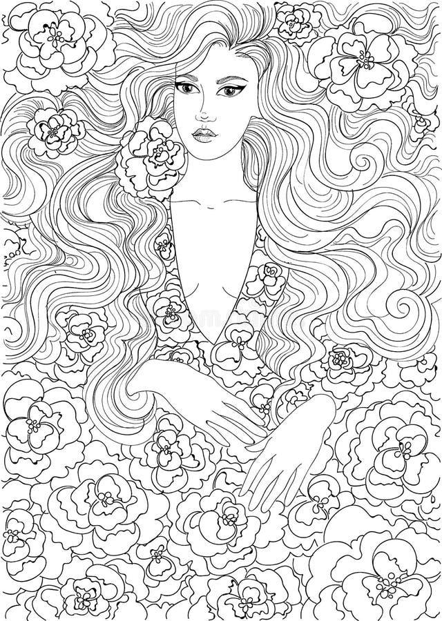 Vektor, der schönes Mädchen in einem geblümten Kleid färbt vektor abbildung