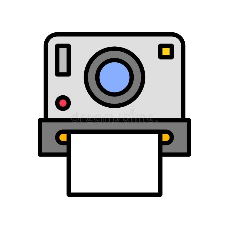 Vektor der sofortigen Kamera, in Verbindung stehende gefüllte Ikone des Sommerfests stock abbildung