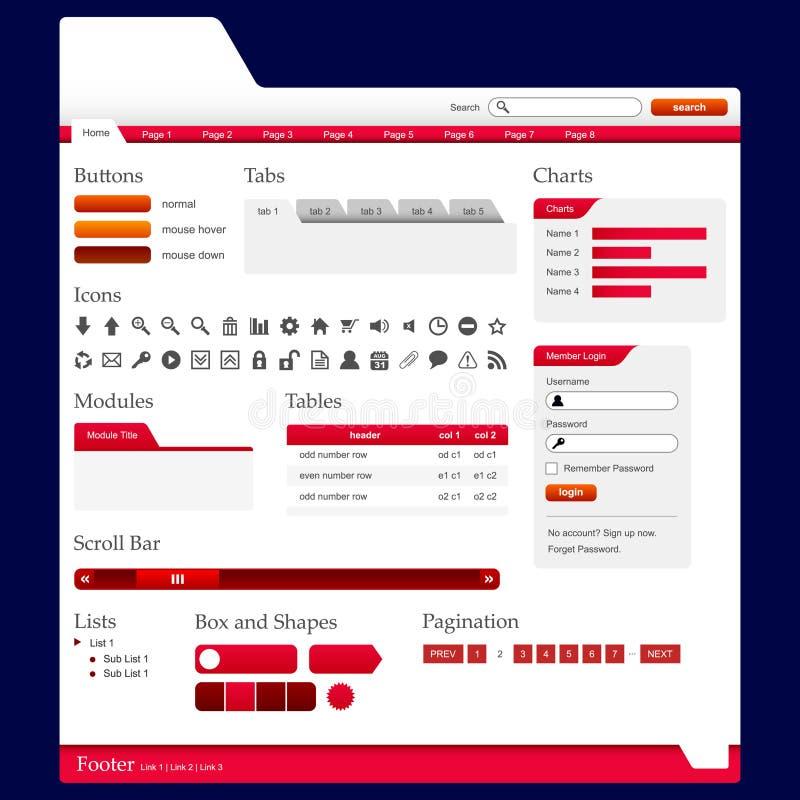 Vektor der Web-Auslegung-Element-2 (rotes Thema) lizenzfreie abbildung