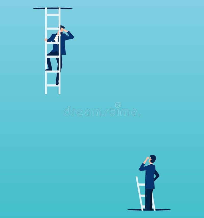 Vektor des Chefs schauend unten von einer Spitze zu einem Angestellten, der oben von unterhalb des Bodens klettert lizenzfreie abbildung