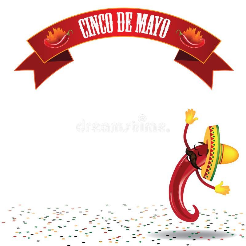 Vektor des Cinco De Mayo-Tanzenpeperoni-Hintergrundes EPS10 lizenzfreie abbildung