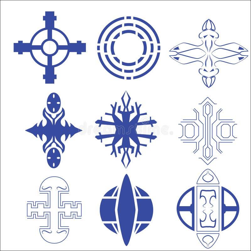 Vektor des dekorativen Kreuzes und des Logos vektor abbildung