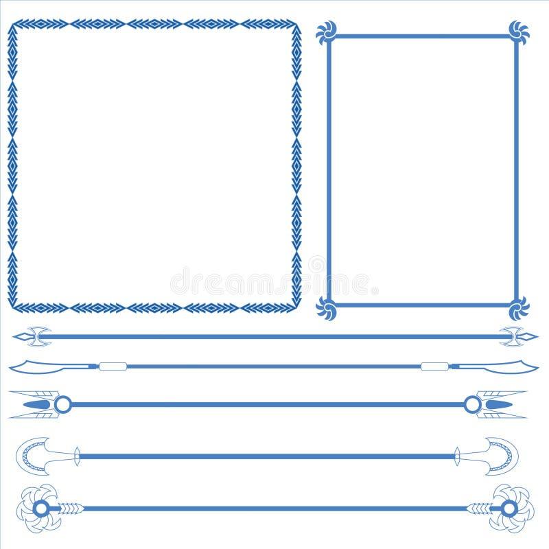 Vektor des dekorativen Rahmens und der Linie lizenzfreie abbildung