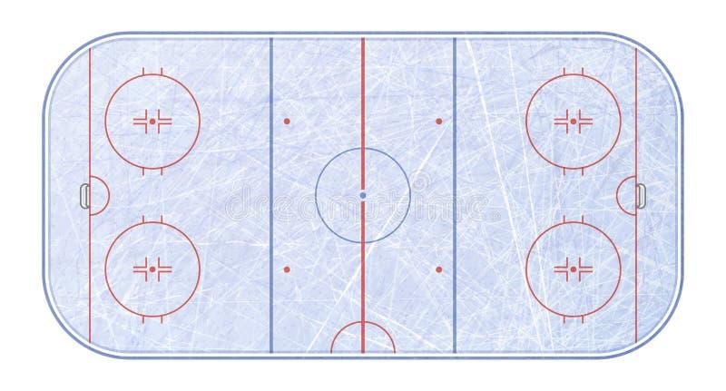 Vektor des Eishockeyfelds Masert blaues Eis Eisbahn Beschneidungspfad eingeschlossen Frische Milch mit Blättern und Blumen lizenzfreie abbildung