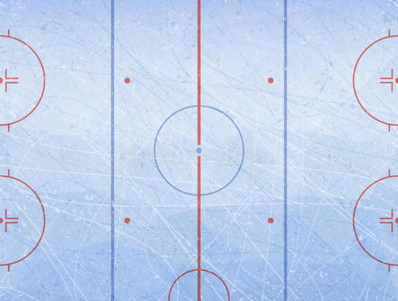 Vektor des Eishockeyfelds Masert blaues Eis Eisbahn Frische Milch mit Blättern und Blumen lizenzfreie abbildung