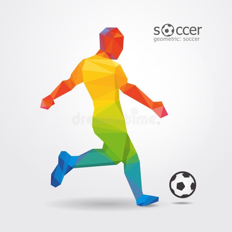 Vektor des geometrischen Designs des Fußballspieler-Trittschlaggerätspielers. stock abbildung