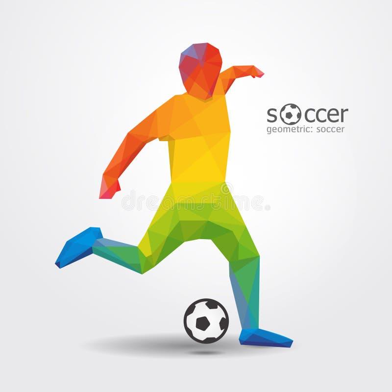 Vektor des geometrischen Designs des Fußballspieler-Trittschlaggerätspielers. lizenzfreie abbildung