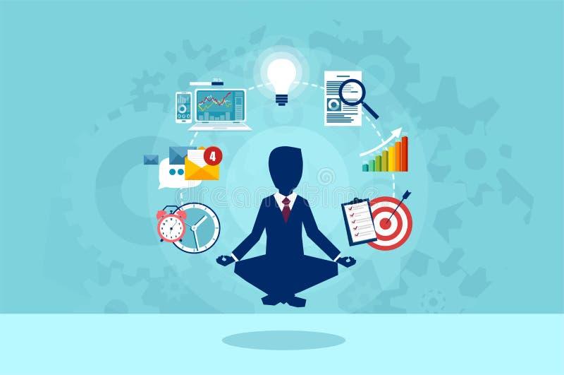 Vektor des Geschäftsmannes meditierend, einen Bruch bei der Arbeit habend stock abbildung