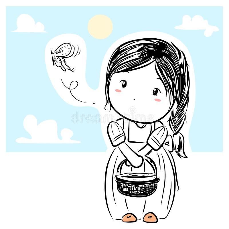 Vektor des hübschen Mädchens in Gekritzelschwarz Federzeichnung auf weißem Hintergrund lizenzfreie stockfotografie