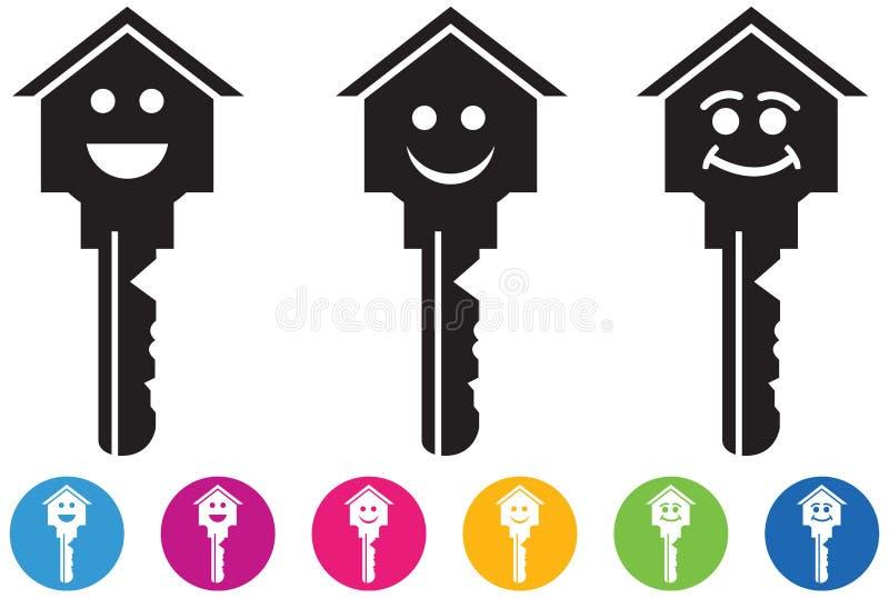 Vektor des Hauses und der Schlüsselikonen und der -knöpfe stellte in smileygesichter ein vektor abbildung