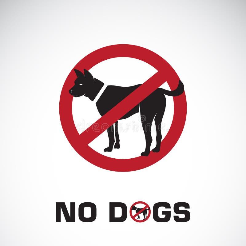 Vektor des Hundes im roten Stoppschild auf weißem Hintergrund Keine Hunde stock abbildung