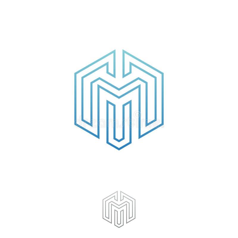 Vektor des Illustrationsbuchstaben M formt Hexagon für Technologie mit Entwurfsartgraphik lizenzfreie abbildung