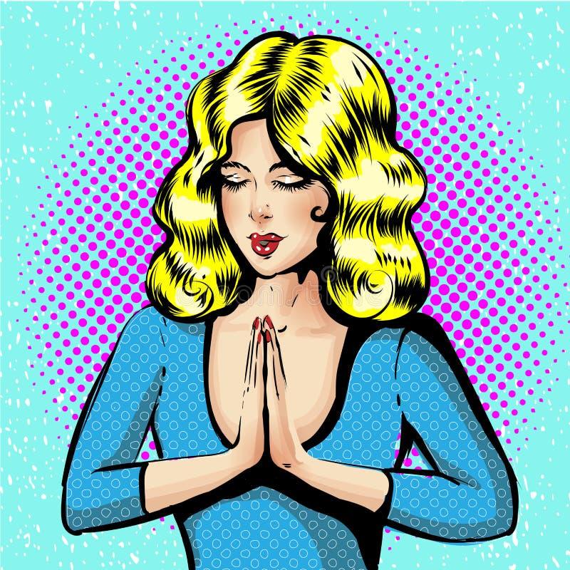 Vektor des jungen Mädchens mit den ausgezeichneten hellen Haaren während des Gebets Illustration des betenden Mädchens lizenzfreie abbildung