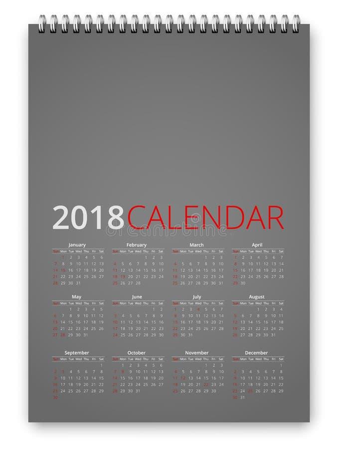 Vektor des Kalender-2018 stock abbildung