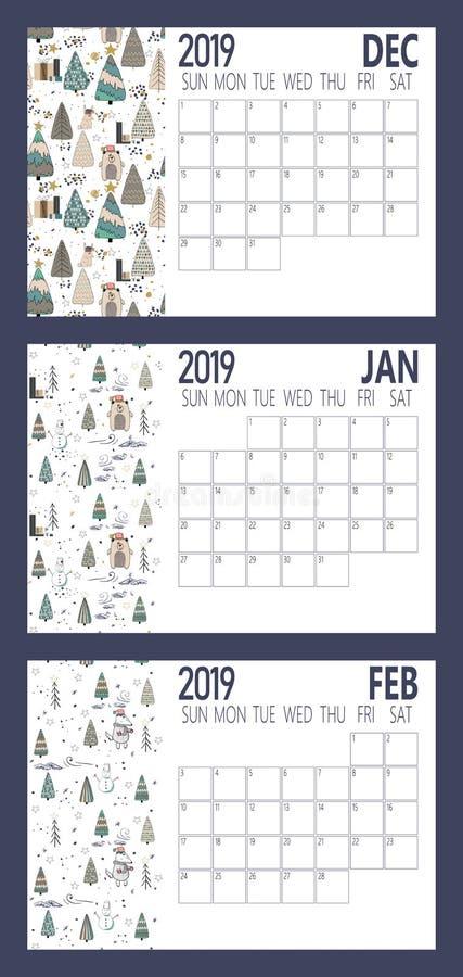 Vektor des Kalenderblattes des neuen Jahres 2019 mit Größe des Wald A4 stock abbildung