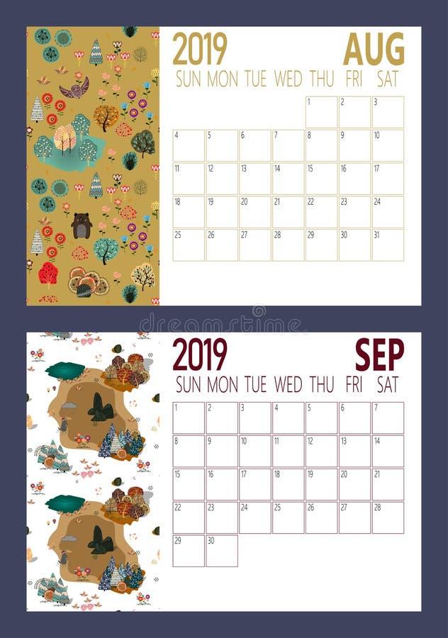 Vektor des Kalenderblattes des neuen Jahres 2019 mit Größe des Wald A4 vektor abbildung
