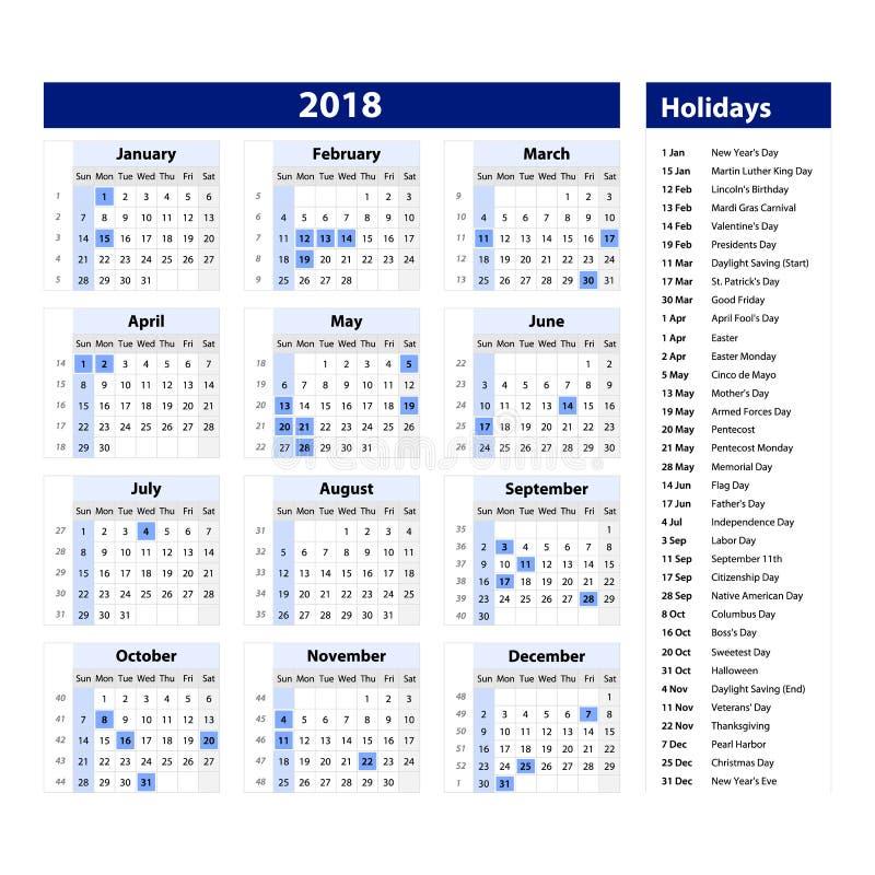 Vektor des Kalenders und der Feiertage des neuen Jahres 2018 Art und schwarze und blaue Farbe, Feiertagsevent-planer, Woche begin vektor abbildung