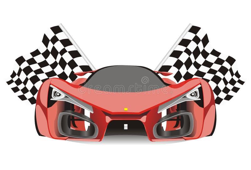 Vektor des Laufens von Flaggen hinter Auto Ferraris f80 stock abbildung