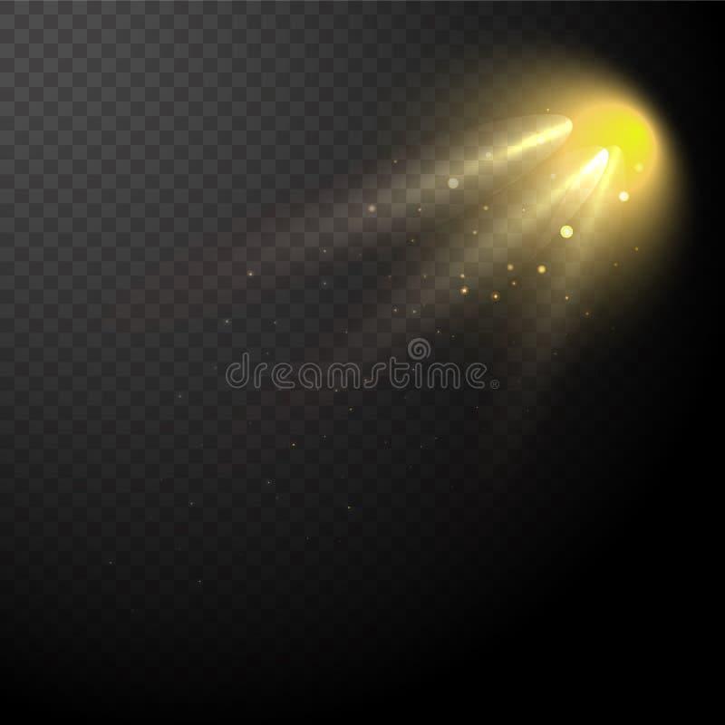 Vektor des Sonnenlichts, helle Strahlen der Beleuchtung stock abbildung