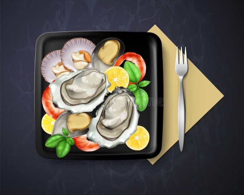 Vektor des Tellers mit Austern, Miesmuscheln und Garnelen diente Zitrone und Basilikum im quadratischen Schwarzblech mit Gabel, D vektor abbildung