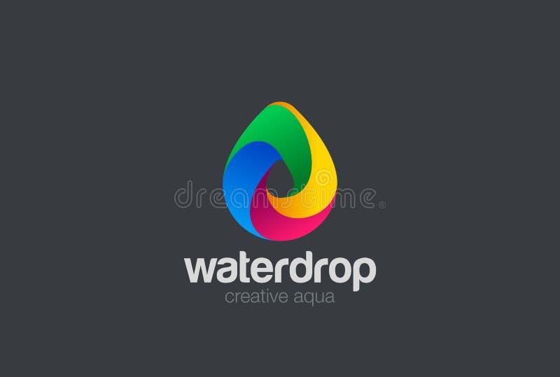 Vektor des Wassertropfen Logo-Designs 3D Waterdrop-Ikone vektor abbildung