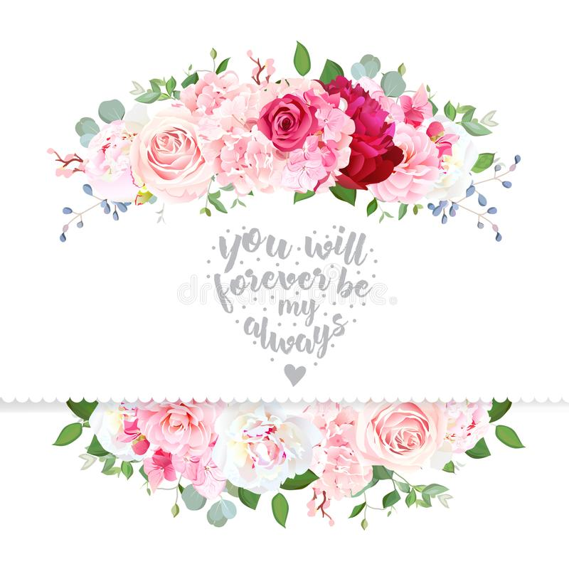 VEKTOR-Designkarte der empfindlichen Hochzeit Blumen lizenzfreie abbildung