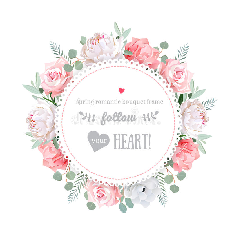 VEKTOR-Designrahmen der empfindlichen Hochzeit Blumen lizenzfreie abbildung