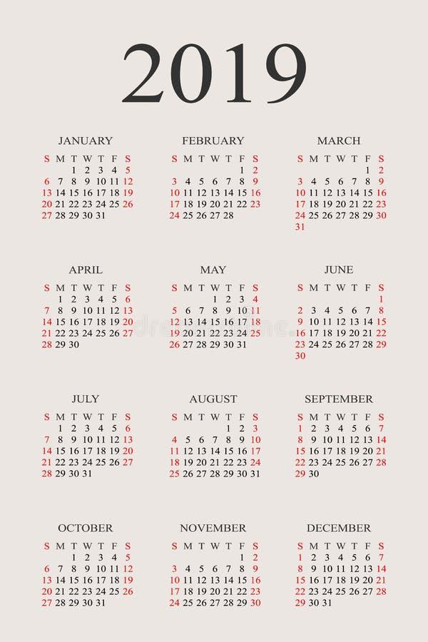 Vektor-Designschablone des Kalenders 2019-jährige stock abbildung
