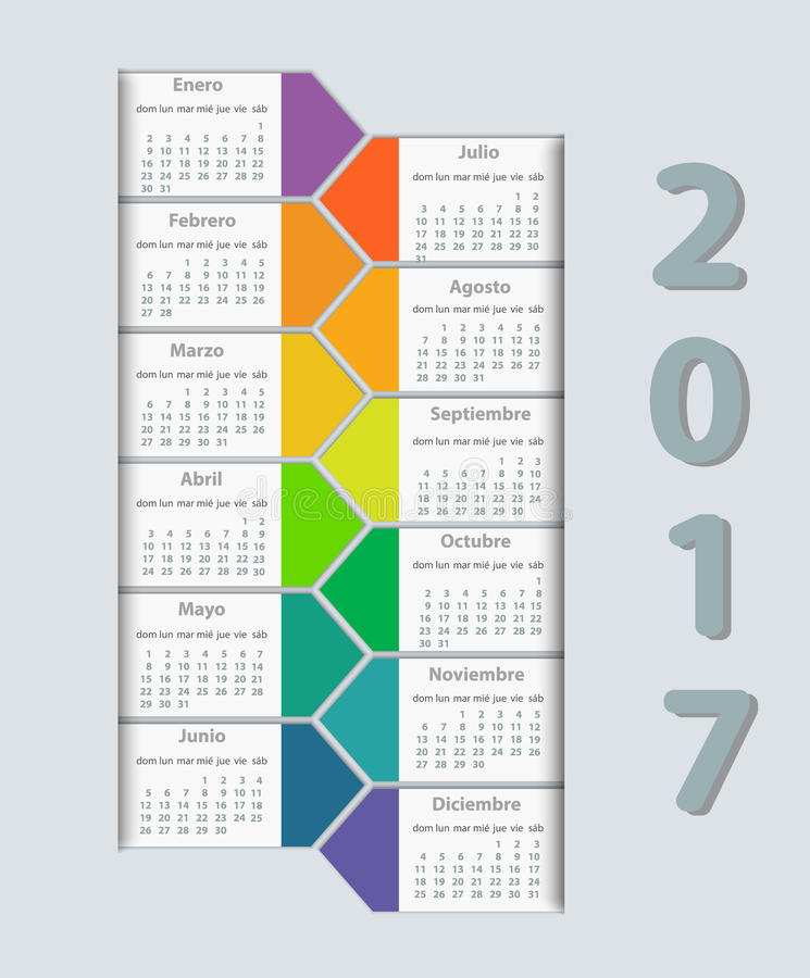 Vektor-Designschablone des Kalenders 2017-jährige auf spanisch stock abbildung
