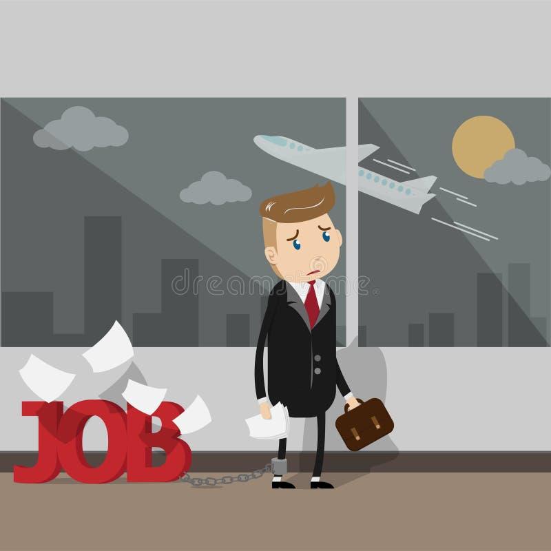 vektor det mycket upptagna affärsfolket behöver en semester royaltyfri illustrationer
