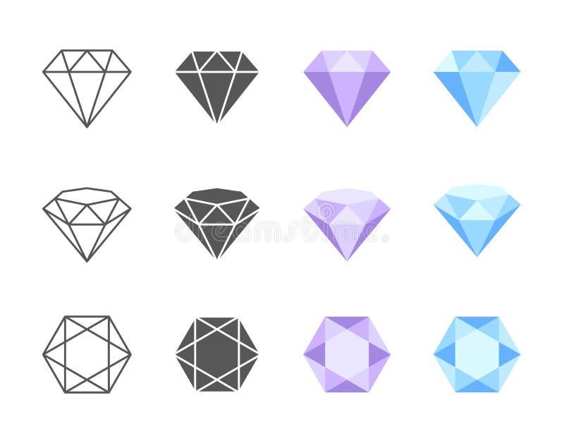 Vektor Diamond Colorful Icons vektor illustrationer