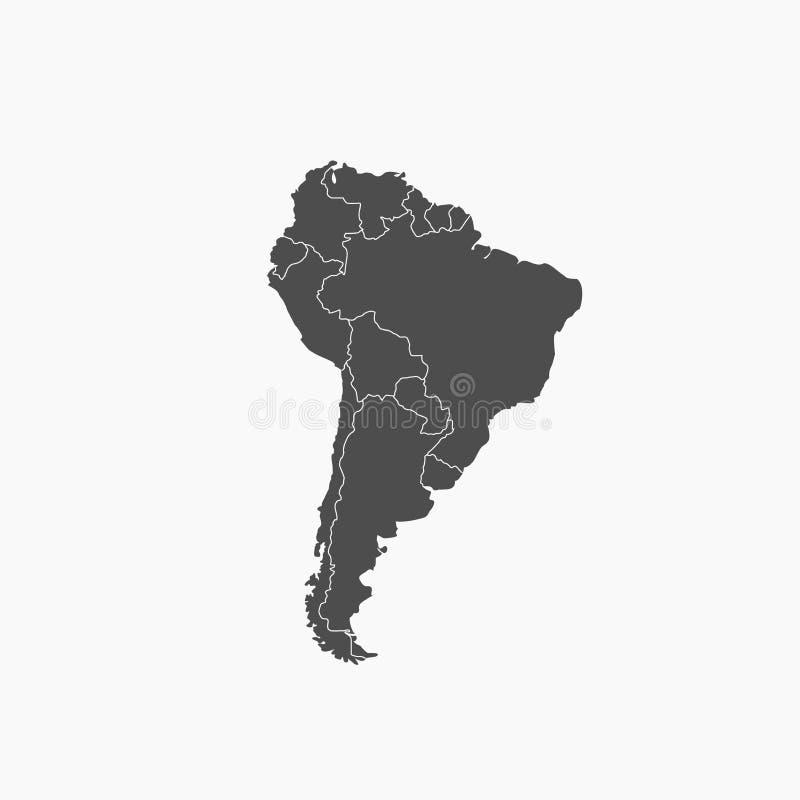 Vektor do mapa de Ámérica do Sul ilustração stock