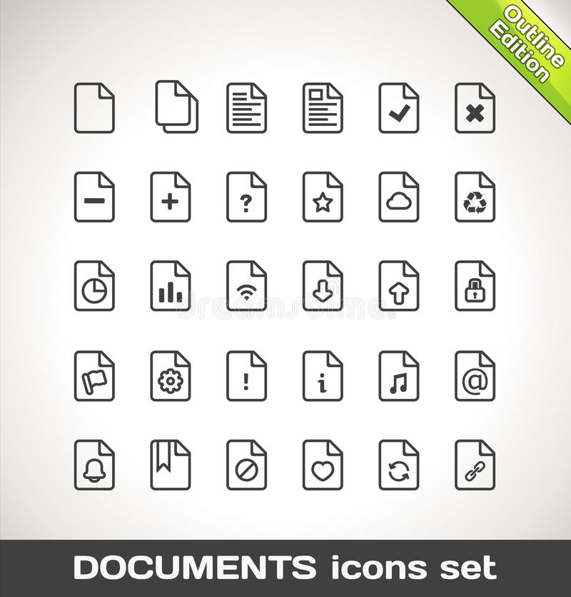 Vektor-Dokumenten-Ikonen-gesetzter Entwurf vektor abbildung