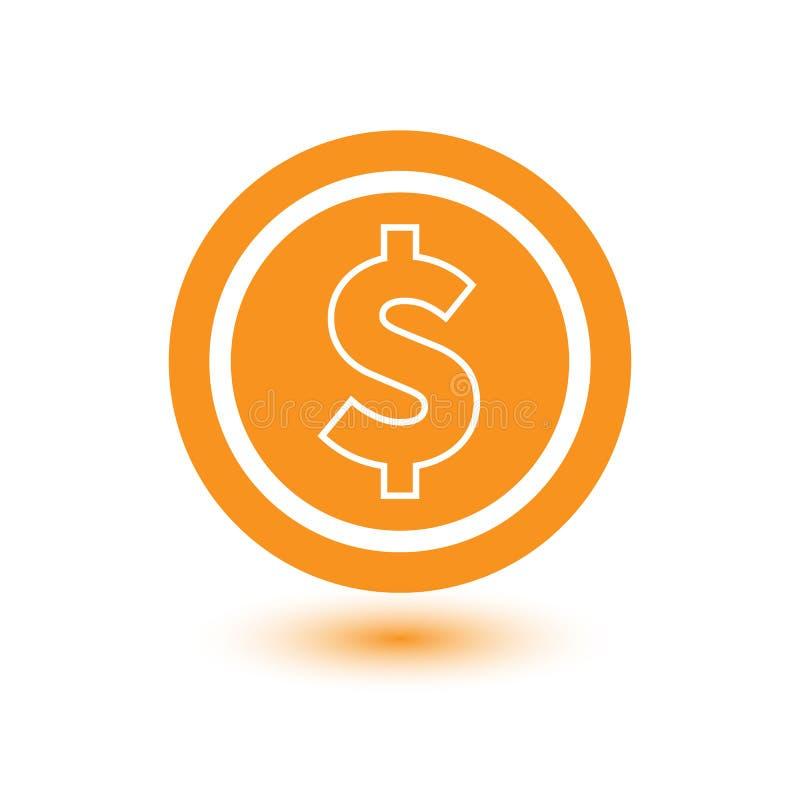 Vektor-Dollar-Zeichen-Ikone, flaches Konzept lizenzfreie abbildung