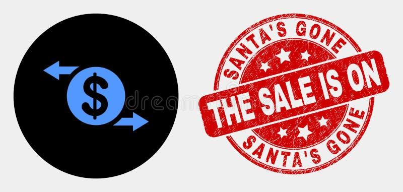 Vektor-Dollarwechsel-Pfeil-Ikone und Schmutz Sankt 'S gegangen dem Verkauf ist auf Dichtung lizenzfreie abbildung