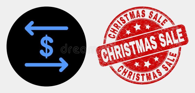 Vektor-Dollarwechsel-Pfeil-Ikone und verkratztes Weihnachtsverkaufs-Stempelsiegel stock abbildung