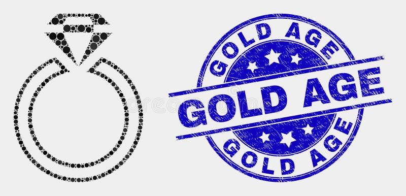 Vektor Dot Jewelry Ring Icon och för ålderstämpel för nödläge guld- skyddsremsa stock illustrationer