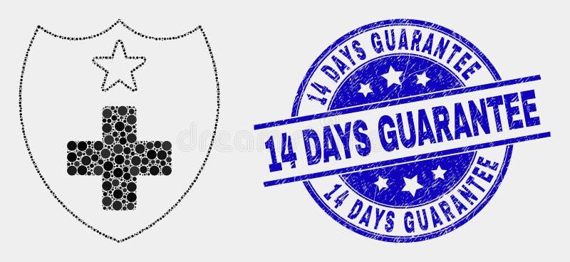 Vektor Dot Medical Shield Icon und beunruhigen 14 Tage garantieren Stempel vektor abbildung