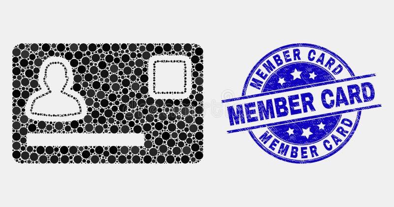 Vektor Dot Personal Credit Card Icon und verkratztes Mitgliedskarten-Stempelsiegel stock abbildung
