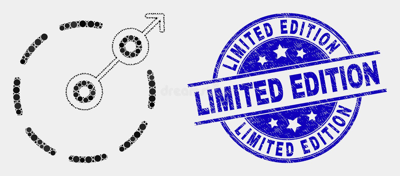 Vektor Dot Radial Escape Border Icon och skyddsremsa för stämpel för begränsad upplaga för Grunge stock illustrationer