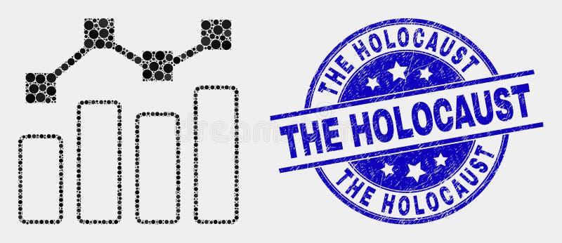 Vektor Dot Trend Chart Icon und verkratzt der Holocaust-Dichtung stock abbildung