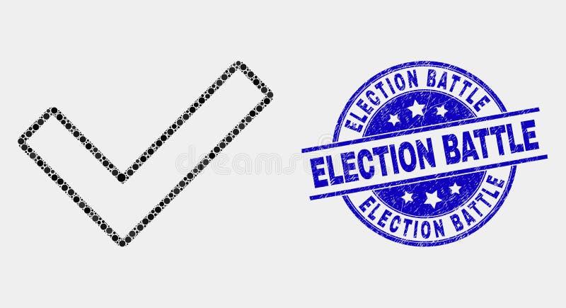Vektor Dot Validated Tick Icon und Bedrängnis-Wahl-Kampf-Dichtung vektor abbildung