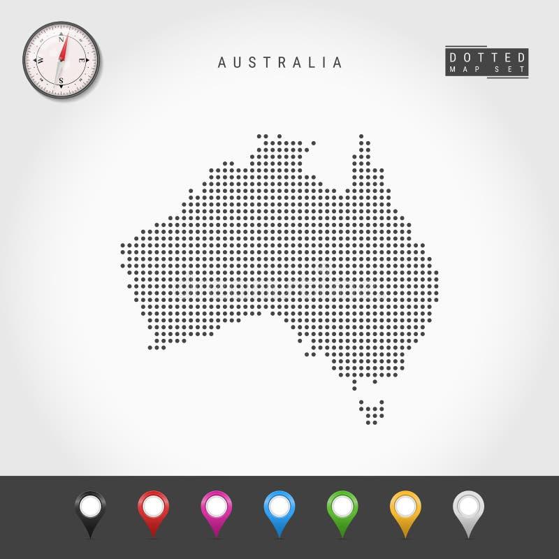 Vektor Dots Map av Australien Enkel kontur av Australien Realistisk vektorkompass M?ngf?rgat ?versiktsben vektor illustrationer
