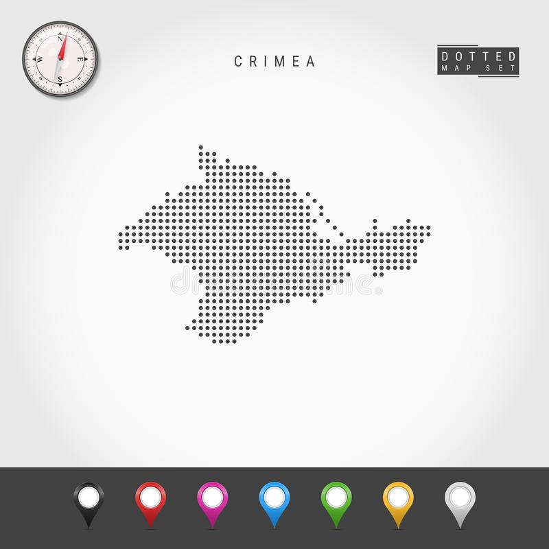 Vektor Dots Map av Krim Enkel kontur av Krim Realistisk vektorkompass M?ngf?rgat ?versiktsben royaltyfri illustrationer