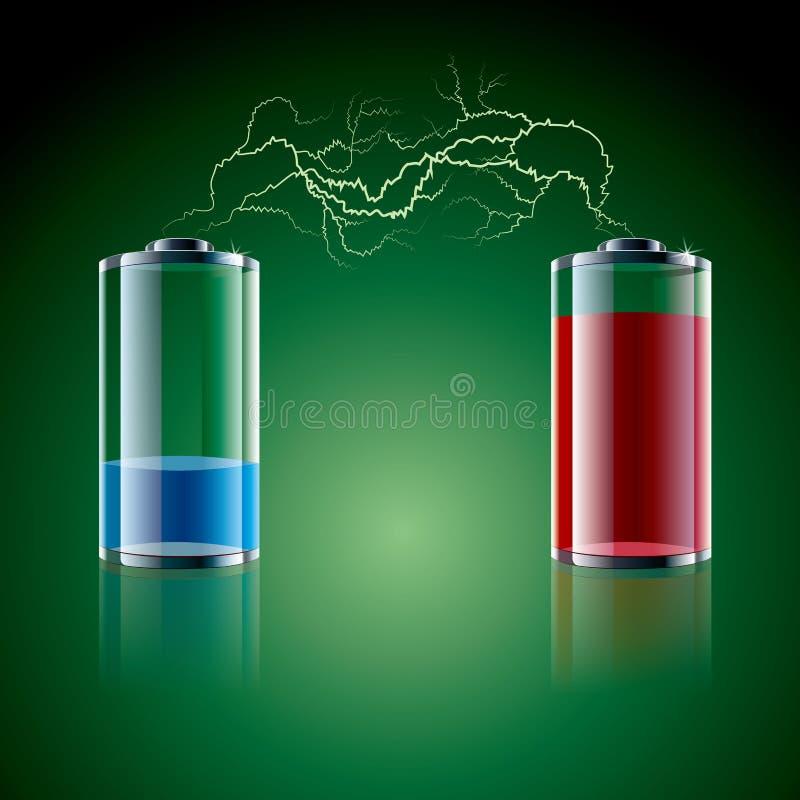 Vektor dragit batterisymbol och blixt vektor illustrationer
