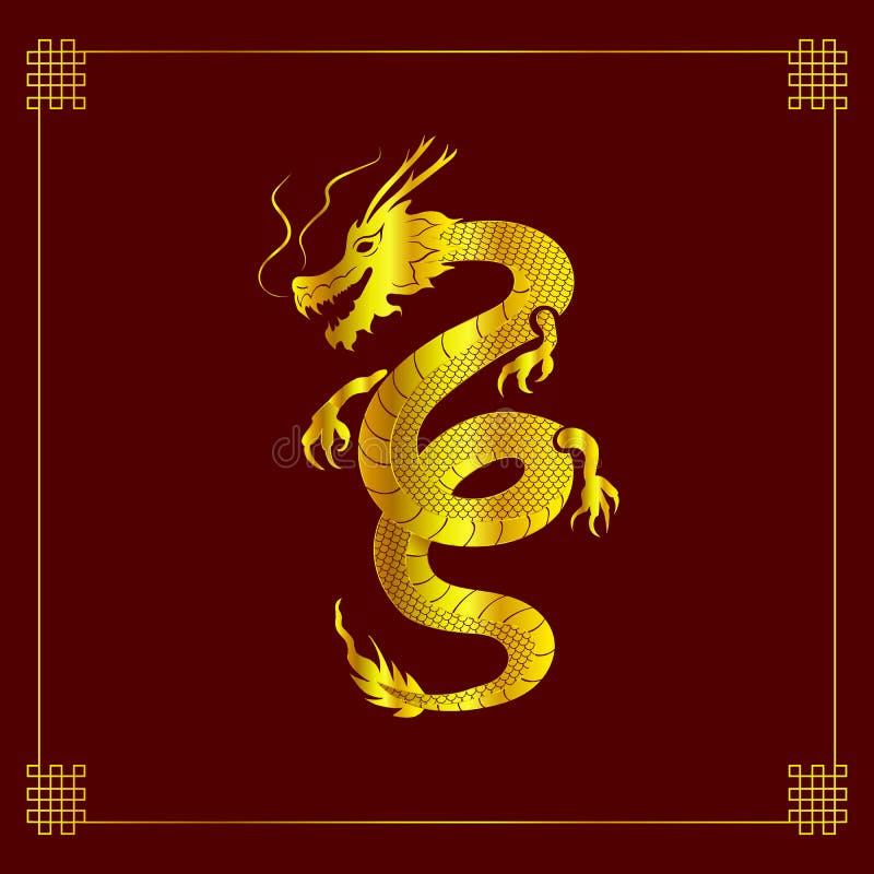 Vektor Dragon Art, mytologidjur, tappningbakgrund för kinesisk stil med dekorativa hörn, guld- drake vektor illustrationer