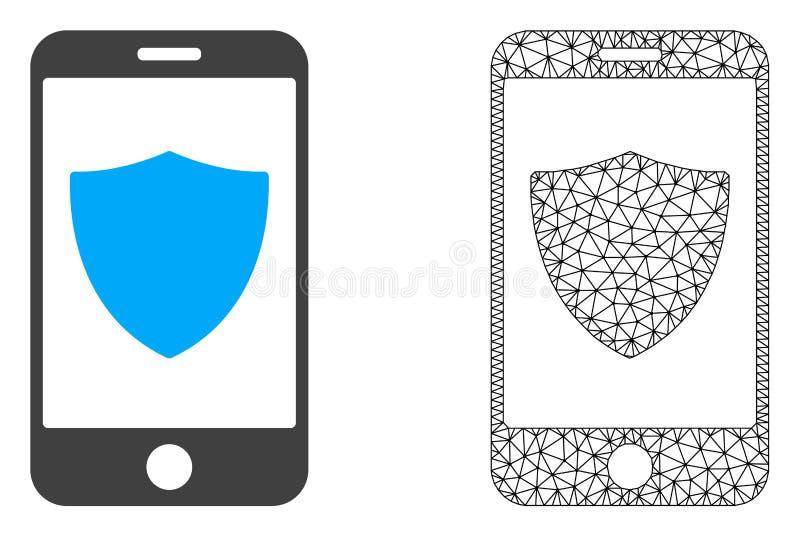 Vektor-Draht-Rahmen Mesh Smartphone Shield und flache Ikone lizenzfreie abbildung