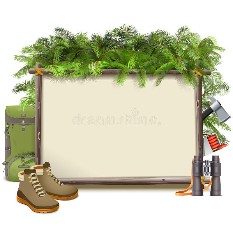 Vektor-Dschungel-kampierender Rahmen lizenzfreie abbildung