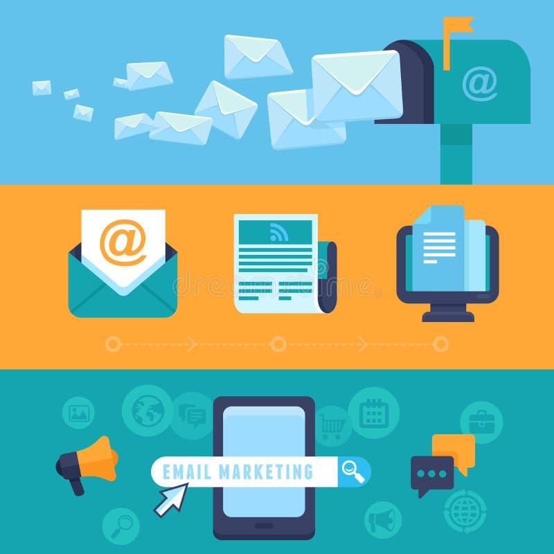 Vektor-E-Mail-Marketing-Konzepte - flache Ikonen stock abbildung