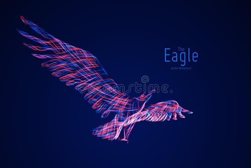 Vektor Eagle im Flug von den abstrakten Strudellinien Eagle in den Bewegungs-, Blauen und Rotenlinien Konzept der Freiheit, Energ lizenzfreie abbildung